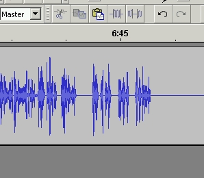 A waveform in Audacity showing nose has been cleaned.