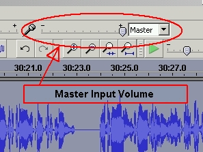 The Master Input Control slider in Audacity.