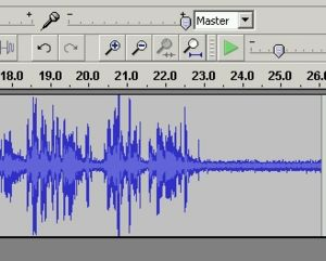 A waveform in Audacity showing significant noise present.